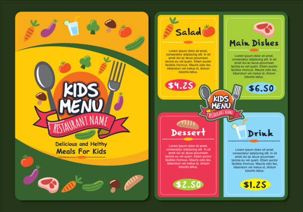 Free Cute Colorful Kids Menu Templates