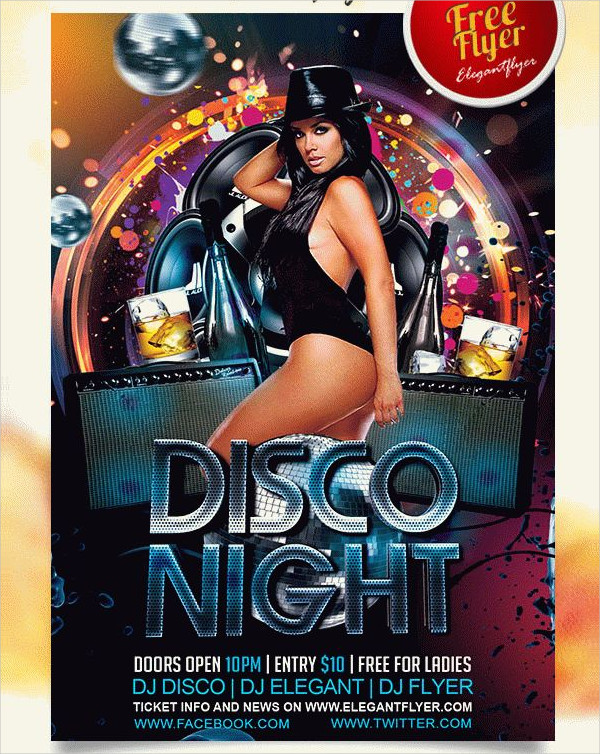 Free PSD Disco Night Flyer Design