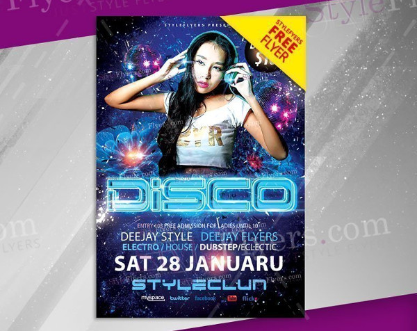Free PSD Disco Party Event Flyer