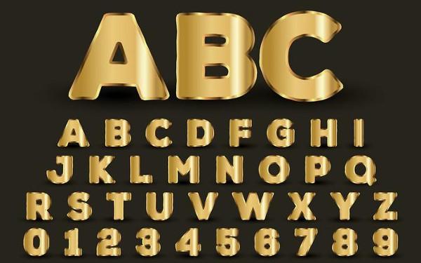 Free Golden Alphabet Upper Case Letter Templates
