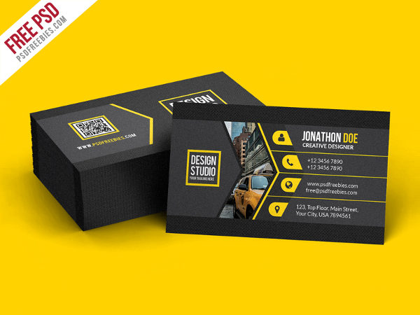 Free PSD Black Business Card Template