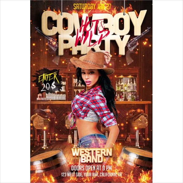 Hot Cowboy Party Free PSD Flyer Template
