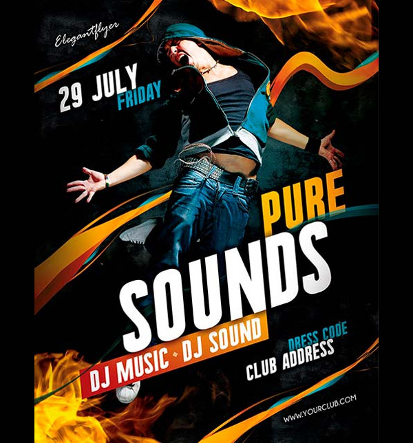 Free Pure Sounds Flyer PSD Template