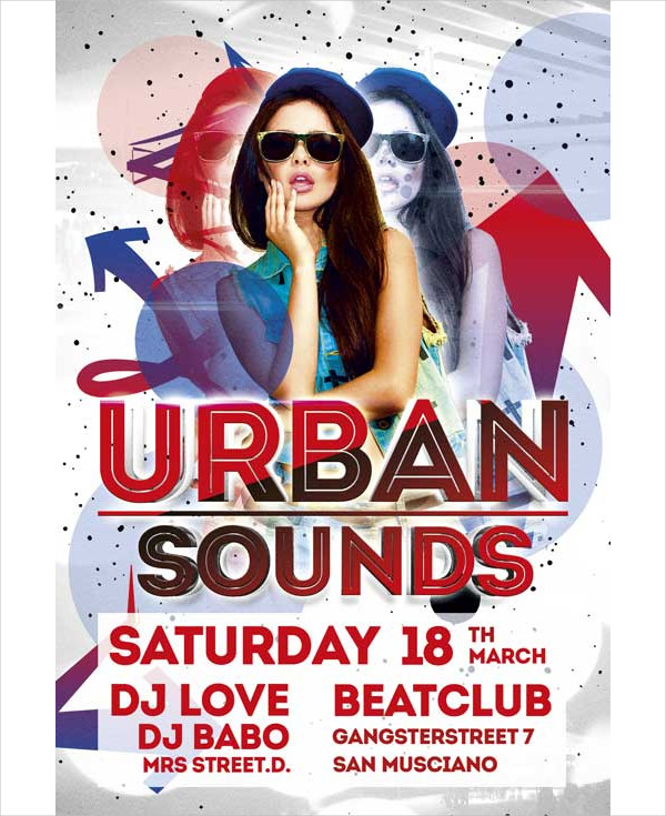 Free Urban Sounds Party Flyer