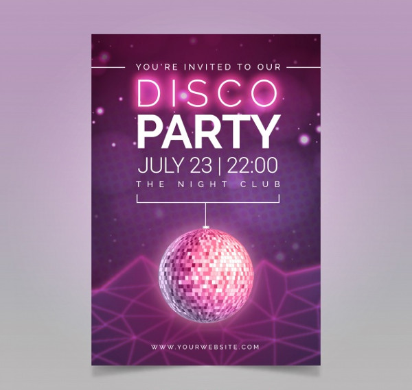 Free Disco Party Flyer Template Vector
