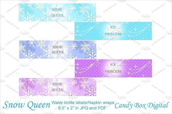 Frozen Snow Queen Water Bottle Labels