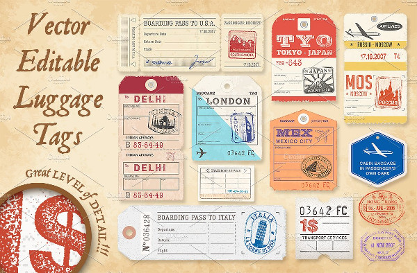 Full Vector Luggage Tags Illustrations
