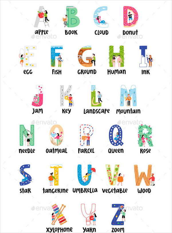 Fully Editable Alphabet Upper Case Letter Template