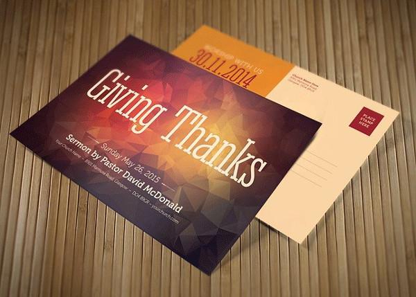 Giving Thanks Church Postcard Template