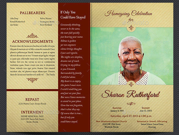 Home Going Funeral Program Templates