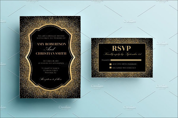 Gold Glitter Wedding Card Template