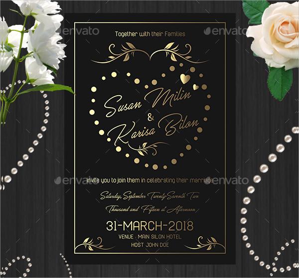 Golden Wedding Invitation Card Templates