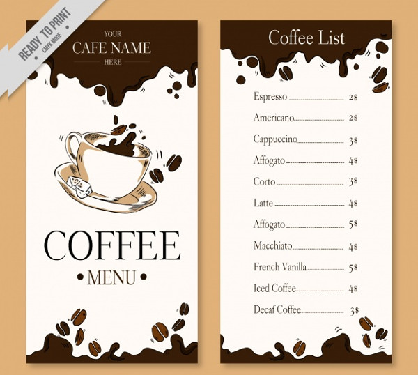 Free Hand Drawn Cafe Menu Template