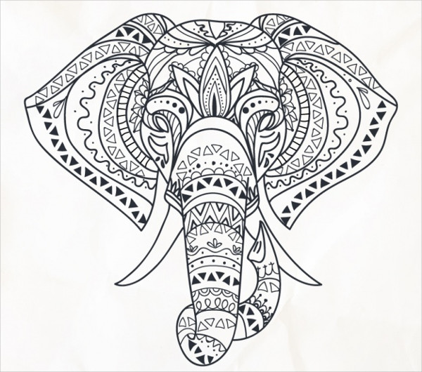 Hand Drawn Elephant in Ethnic Style Free Download