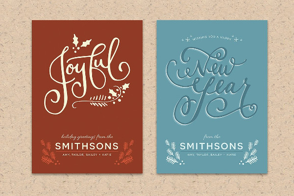 Hand Lettered Holiday Postcard Templates