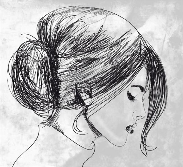 Hand Drawn beautiful woman Free Download