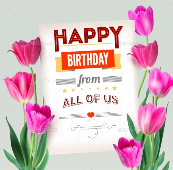 Happy Birthday Vintage Text Poster Template