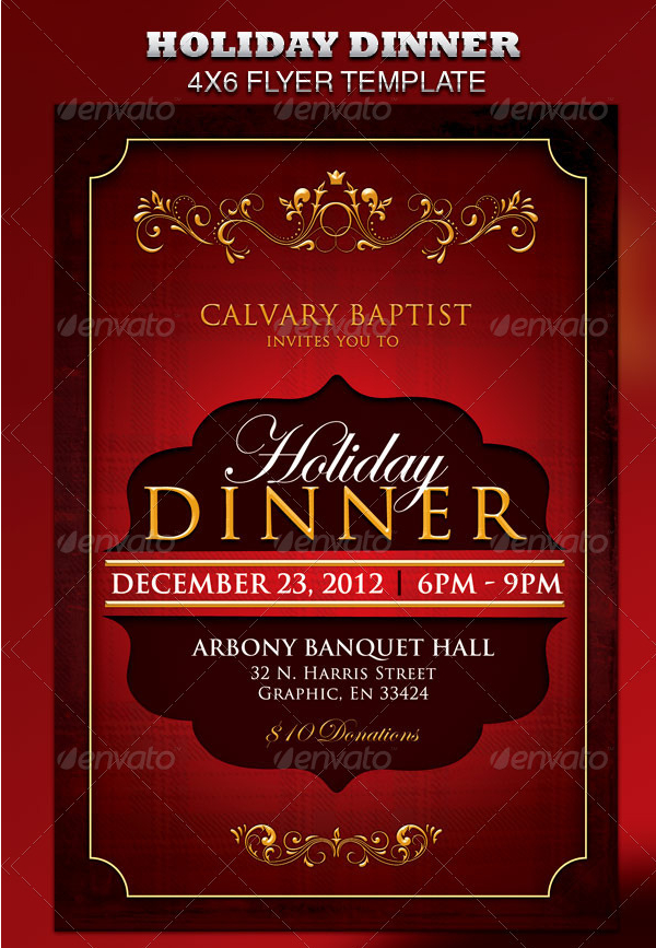 Holiday Dinner Flyer Template for Church