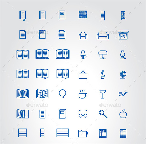 Public Library and Home Icons