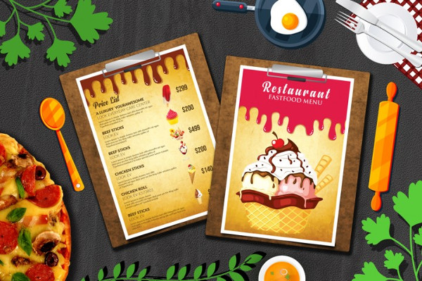 Ice Cream Restaurant Menu Templates