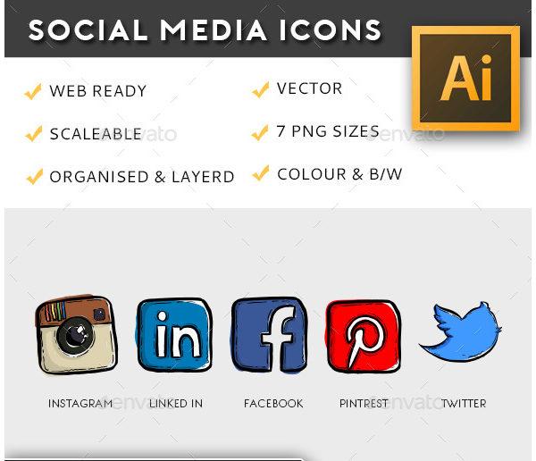 Illustrative Social Media Buttons Pack