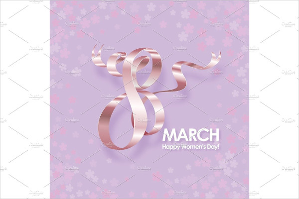 International Womens Day Greeting Card with Ribbon & Flowers
