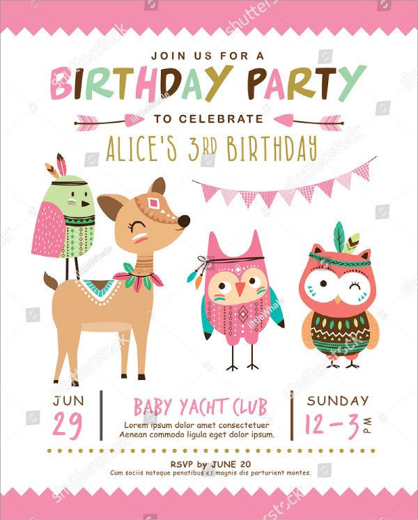 29 kids birthday invitation templates free premium download