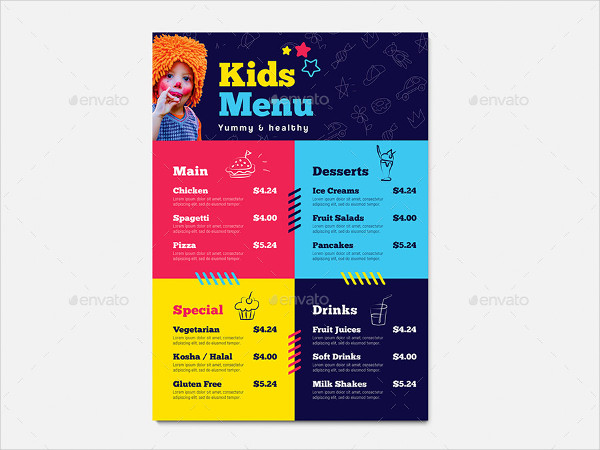 Kid's Menu PSD Template