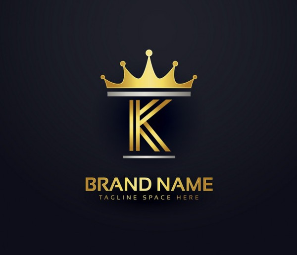 Letter K Logo with Golden Crown Free