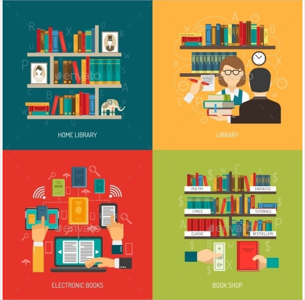 Library Concept Flat Icons