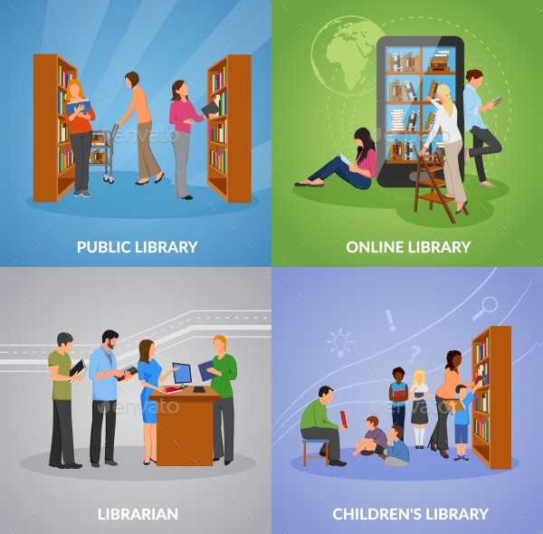 Library Concept Icons set with Public