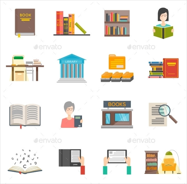 Library Icons Set with Flat Books and E-Books