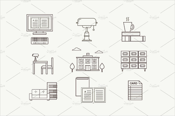 Library Vector Flat Icons Set