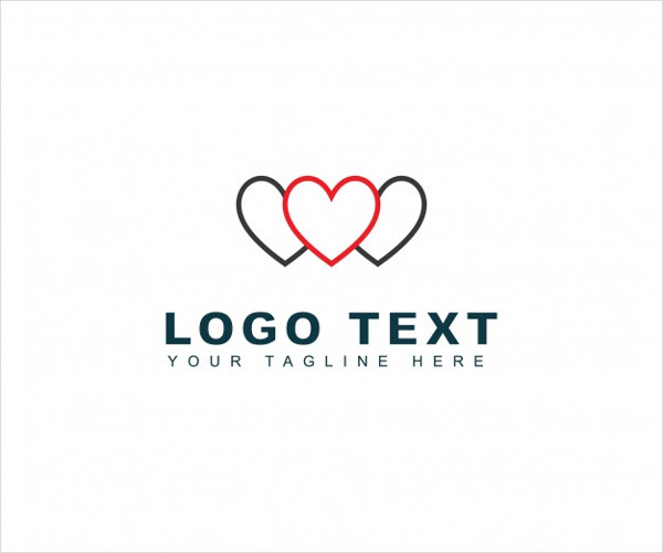 Linked Hearts Logo Free Vector