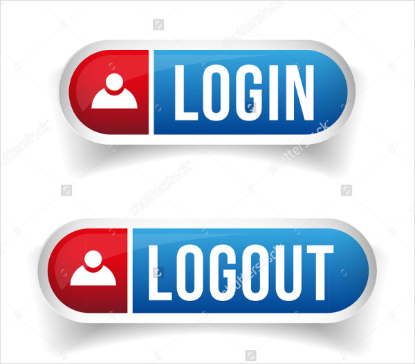 Login & Logout Buttons Set Vector