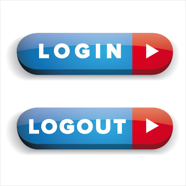 Login Logout Vector Button Set