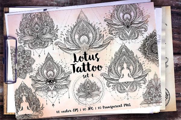 Lotus Tattoo Design Pattern
