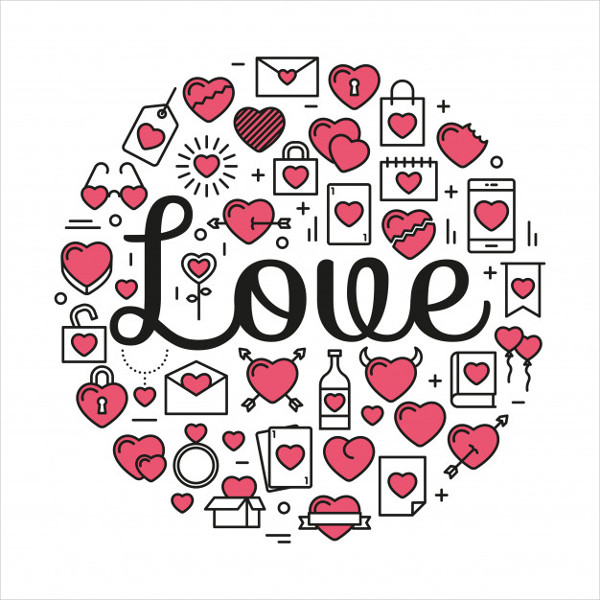 Love Surrounded by Icons and Hearts Free Vector