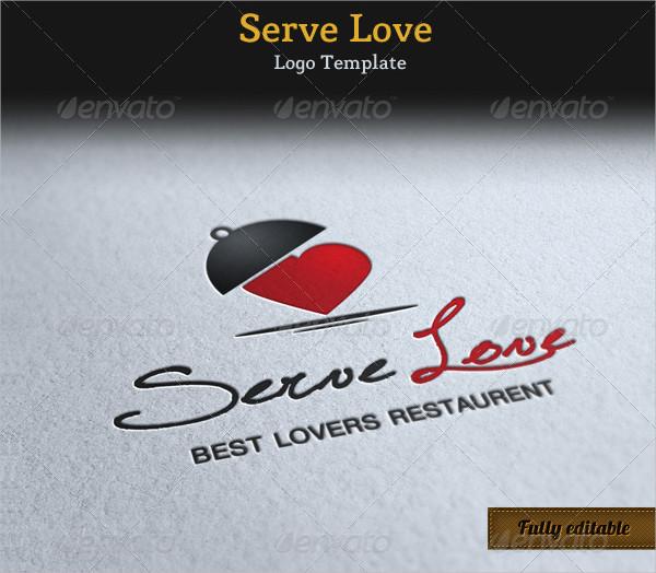 Serve Love Restaurant Cafe Food Logo Template