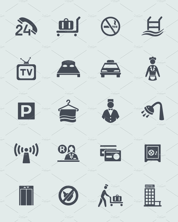 Simple Hotel Icons Collection