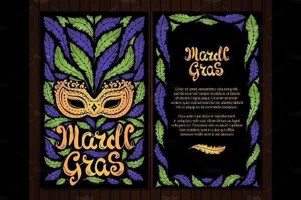 Mardi Gras Celebration Postcard Template