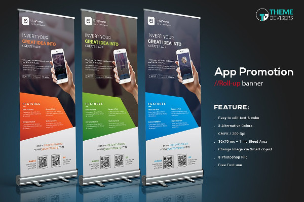 Mobile App Roll-Up Banner Template