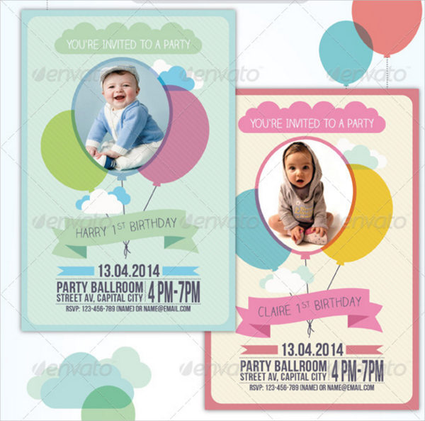 Balloon Birthday Invitation Card Template