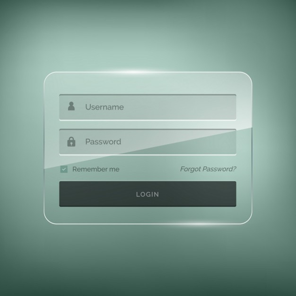 Login Template with Brightness Effect Free Vector
