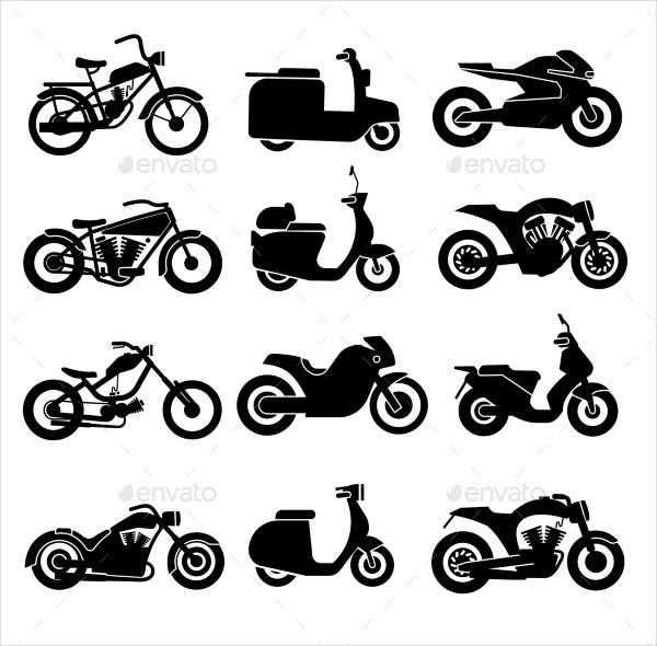 Motorcycle Black Icon Set