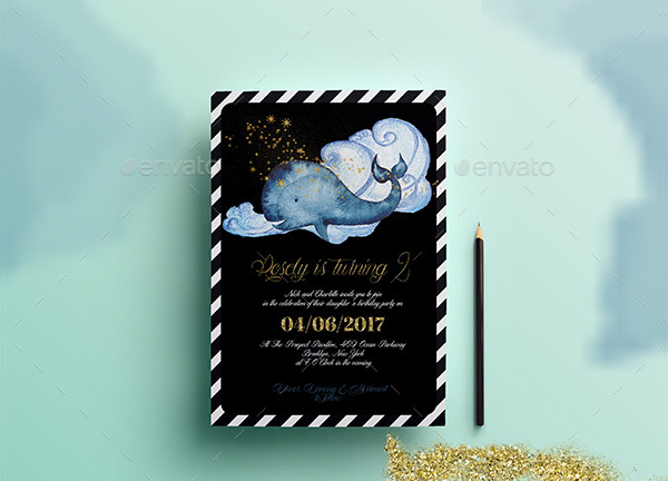 Nautical Birthday Invitation Card Template