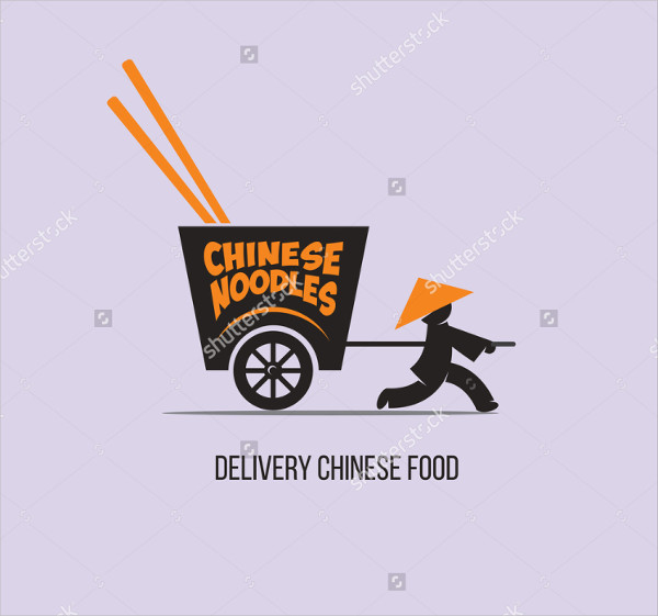 Delivery Chinese Food Vector Logo Template