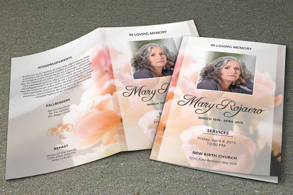 Obituary Program Template Instant Download