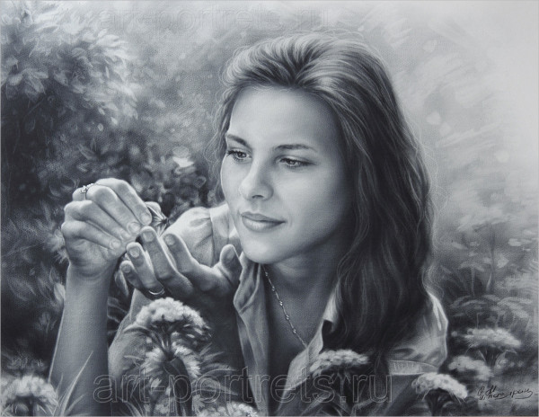 Observational Drawing of a Girl with Butterfly