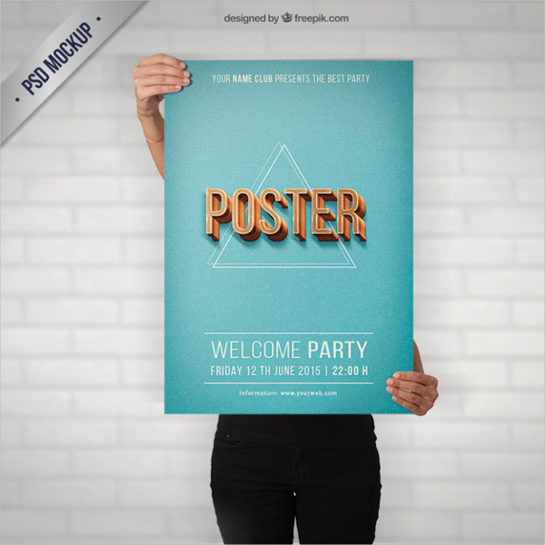 Free Party Poster Mock-Up in Retro Style